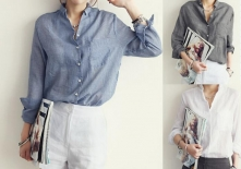 Fashion-Shirt-Women-2014-Ladies-Blue-Gray-White-Turn-Down-Collar-Long-Sleeve-with-Pocket-Linen